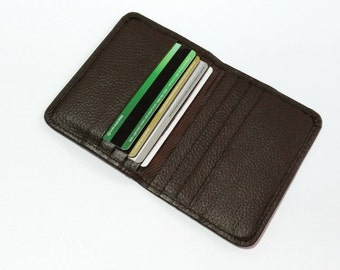 Leather credit card holder, Brown credit card wallet, Leather card holder
