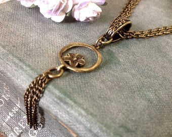 Daisy Tassel Bronze Necklace, Hammered Bronze, Israeli Jewelry, Gift Boxed