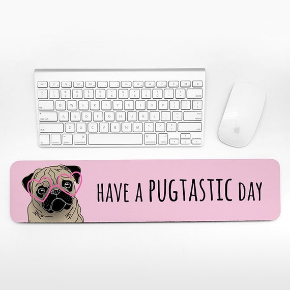 Pug Keyboard Wrist Rest Pad, Pink Wrist Keyboard Rest, Dog Wrist Pad for Keyboard Pad, Cute Desk Decor for Women, Cubicle Decor for Women