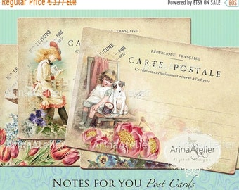 SALE - 40% OFF Post Cards Notes for you - Digital cards - Digital Tags - set of 4 - 3,5x5 inches ATC cards - digital download - victorian Co