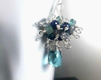 Festive light blue quartz earrings