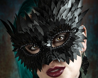 Leather Mask, Masquerade, Festival Wear, Cosplay, Halloween, Mask