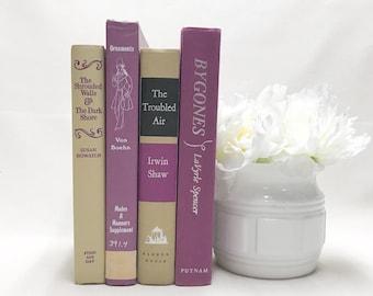 Purple Vintage Decorative Books, Shelf Decor, Farmhouse Decor