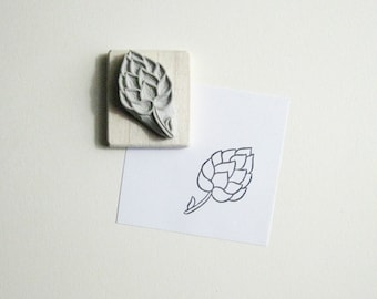 Hops Hand-Carved Rubber Stamp