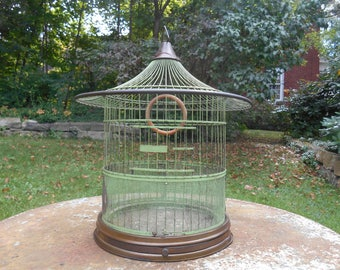 Hendryx Brass Bird Cage Pagoda Shape Wedding Decor with Round Wood Perch Old Green Paint Table Top Display Photo Prop Wedding Card Holder