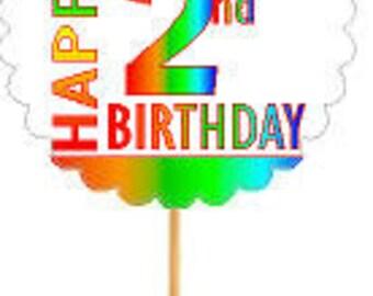 Happy 2nd Birthday Rainbow Cupcake Decoration Topper Picks -12pk