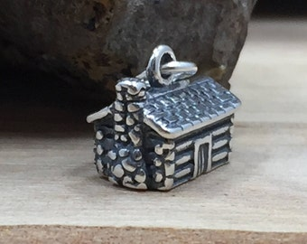 Cabin Charm, Log Cabin Charm, Wilderness Charm, Camping Charm, Sterling Silver