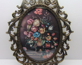 Vintage   Oval Metal Framed  Floral  Picture