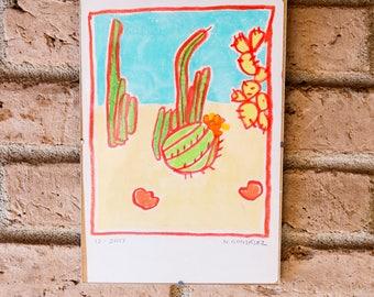 Cacti in Arizona - Oil Pastel Drawing
