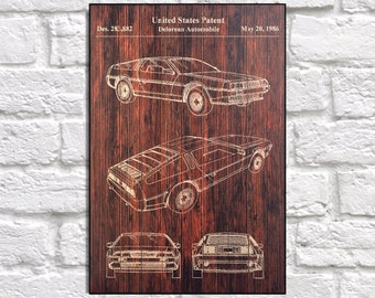 Movie poster Delorean car Patent print Wood wall art wood art Retro Movie print Back to the future patent wood print Rustic Panel effect