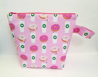 Knitting Project Bag, Coffee Project Bag, Large Project Bag, Project Bag for Knitting, Crochet Bag, Starbucks Project Bag, Travel Pouch