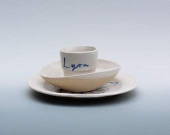 Children's personalised plate, bowl and cup set
