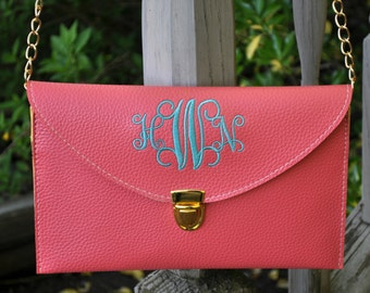 Monogrammed Envelope Clutch-Leather Clutch-Monogram Included-Choose your Color