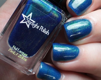 Dragon Kyanite Blue Duochrome Color Shifting Gold to Green Indie Nail Lacquer Starlight Polish Liquid Euphoria