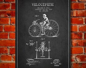 1882 Velocipede Patent Canvas Print, Wall Art, Home Decor, Gift Idea
