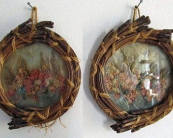 Pine needle basketry frames with pressed flowers