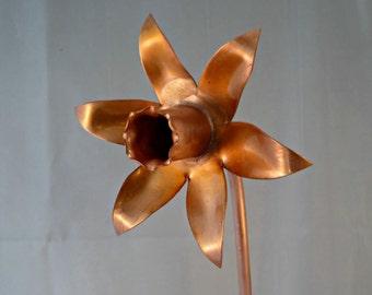 Copper daffodil, metal spring flower