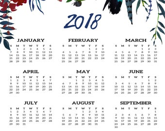 2018 Desk Calendar | Botanical Calendar | Floral Calendar | Watercolor Calendar | Instant Download