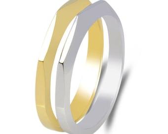 Geometric gold facet set rings,Thin Facet wedding band, Set wedding bands, Minimalist rings, Bridal set, Promise ring, Stacking wedding band