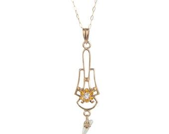 Art Nouveau 10k lavaliere necklace with diamond & pearl