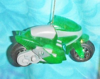 One - Green Motorcycle Motorbike Boys ~ Christmas Ornament