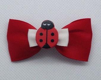 Red ladybug crocodile clip bow