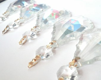 5 Clear 63mm French Cut Chandelier Crystals Ornament Asfour Lead Crystal