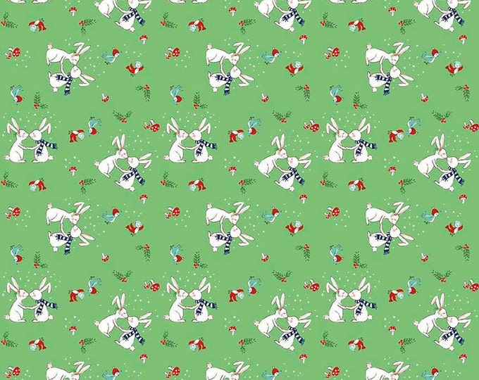 Pixie Noel by Riley Blake - Bunnies Green - Cotton Woven Fabric