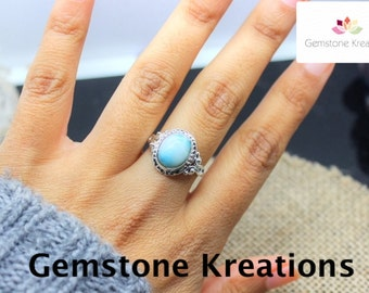 Larimar Ring, 925 Sterling Silver Ring, 18K gold plated Ring
