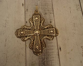 Vintage Reed and Barton 1972 925 Sterling Silver Christmas Cross Pendant or Ornament