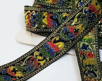 Colorful fabric woven trim from India 1 1/2 inch wide sold by the yard 22