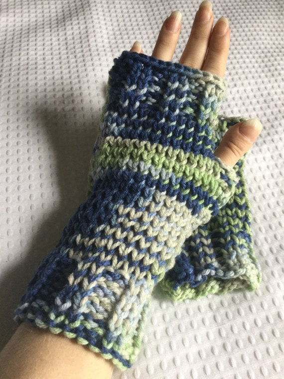 Blue and green variegated hand knit fingerless gloves