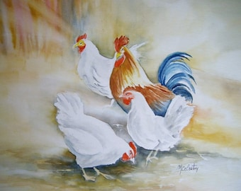 Watercolor painting original painting done by me in 32x24cm three chickens a rooster