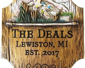 Rustic Lake Cabin Personalized Sign