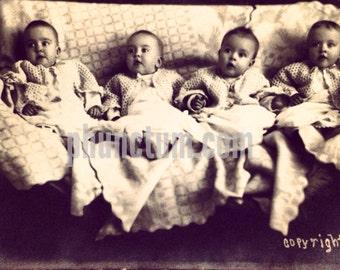 Keys Quadruplets Antique Photo Multiple Births Hollis Oklahoma
