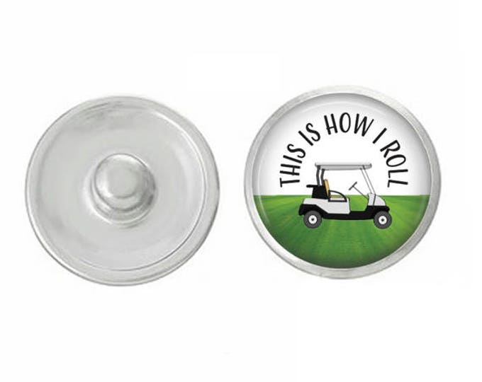 This Is How I Roll Golf Snap Pair with Base Pieces - Compatiable with GingerSnaps and Magnolia and Vine - Hand-Pressed Snaps - Golf Marker