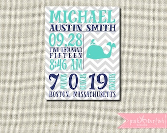 Birth Announcement, Nautical Birth Announcement, Whale, Baby Boy, Wall Art, Baby Girl, custom baby nursery, baby birth print, Nursery Art