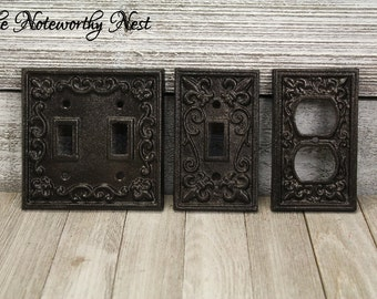 ANY COLOR Cast Iron switch plates / light switch covers / custom switchplates / cast iron light covers / oil rubbed bronze switch plates
