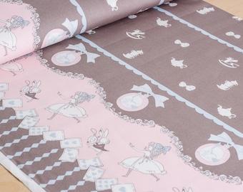 Shinzi Katoh   Japanese fabric - kawaii Usagi Alice - oxford cotton - gray - 1/2 YD