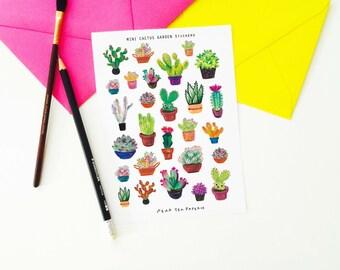 Mini Cactus Stickers, Botanical Stickers, Planning Stickers,  Erin Condren, Cactus Stickers