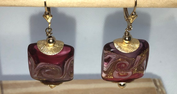 Murano,Glass Beaded ,Square Pierced Earrings,LeverbackPurples, Pink, Gifts for Her, Free Shipping, Venetian Glass, One of A Kind, Earrings,