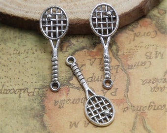 12pcs Tennis Racket Charms Silver tone 2 Sided Tennis Racket charm pendants Badminton racket 49x19mm ASD0501