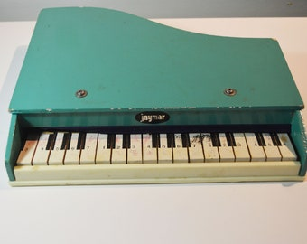 Vintage Jaymar Blue-Green Child's Toy Piano