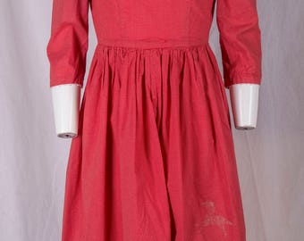 Vintage hand made red dress w/tiny white polkadots, prairie style, simple, horse shadow.1970s