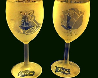Etched Glass Wedding Wine Glass Set