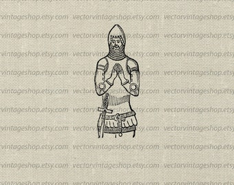 Knight Clip Art, Armor Vector Graphic, Commercial Use, Instant Download Clipart, Antique Juppon Tunic Armor Soldier, Victorian Illustration