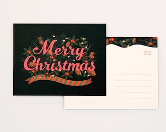 8 Holiday Postcards Set - Merry Christmas Black