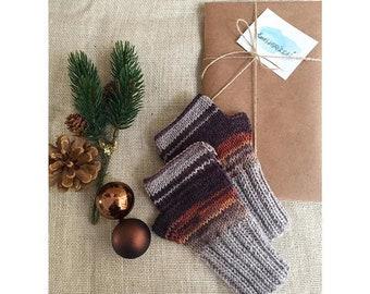 Knitting Fingerless Gloves, Arm Warmer Brown, Halloween Gift,  Cable Knit Mittens,  Winter Wool Gloves,  Women Fingerless, Friend For Gift
