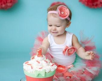 1st Birthday Tutu | Mint and Coral Flower Girl Dress | Cake Smash Skirt