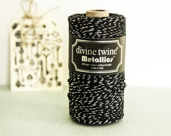 Metallics Black and Silver Divine Twine , Baker's Twine 10m, black twine, metallic string